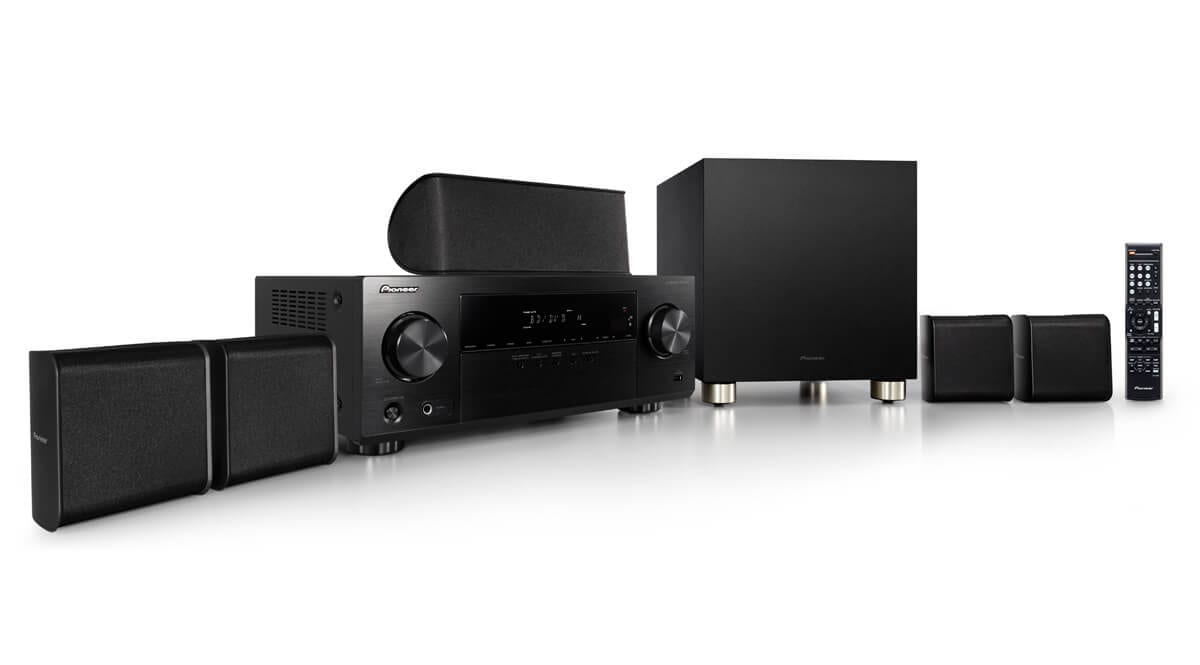 pioneer htp 075 5 1 channel hdmi 3d av receiver with 4k. Black Bedroom Furniture Sets. Home Design Ideas
