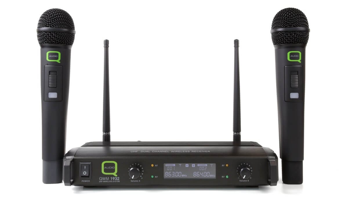 Q-Audio QWM1932HH Professional Finish Fixed Frequency UHF Wireless  Microphone System